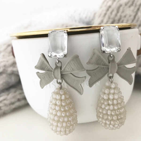 Ohrring bow pearl taupe