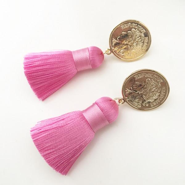 Tassel-Ohrringe silk pink