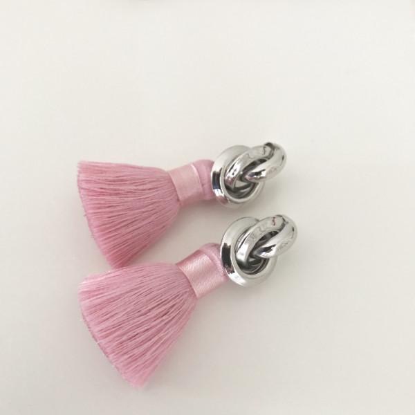 Tassel-Ohrringe silk rosa knot
