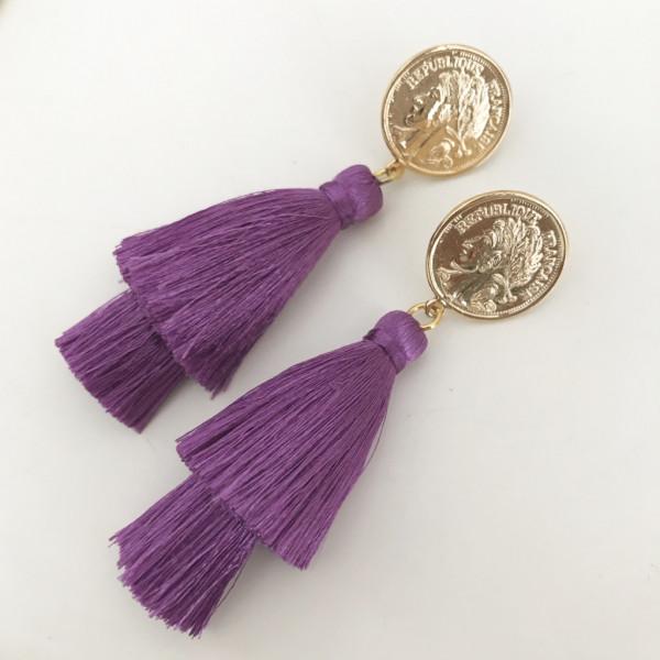 Tassel-Ohrringe violett double
