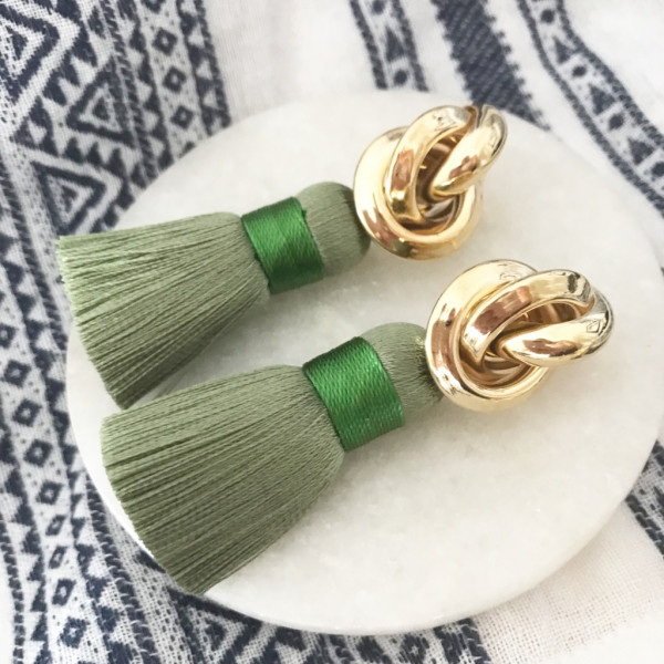 Tassel-Ohrringe silk khaki knot