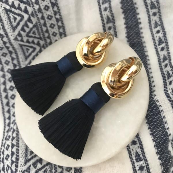 Tassel-Ohrringe silk blue knot