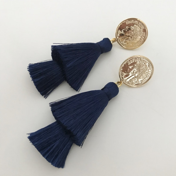 Tassel-Ohrringe silk navy double