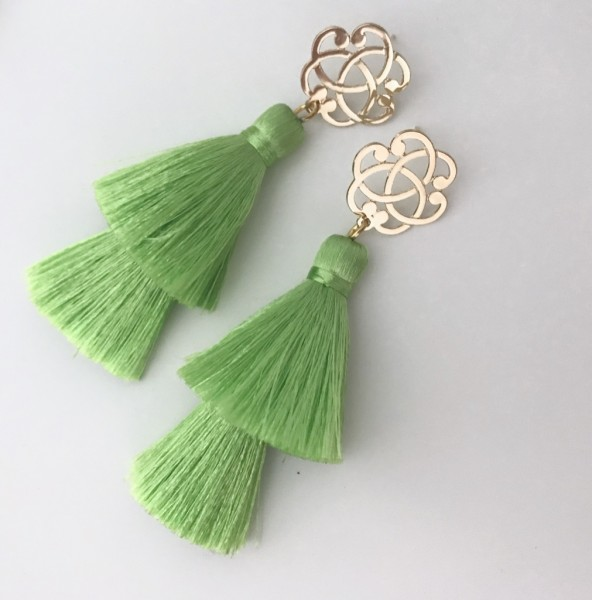 Tassel-Ohrringe Ornament green