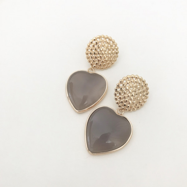 Ohrring heart taupe clip