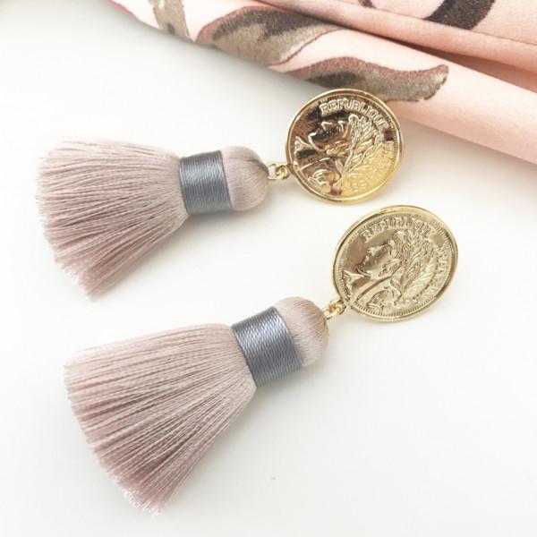Tassel-Ohrringe silk nude