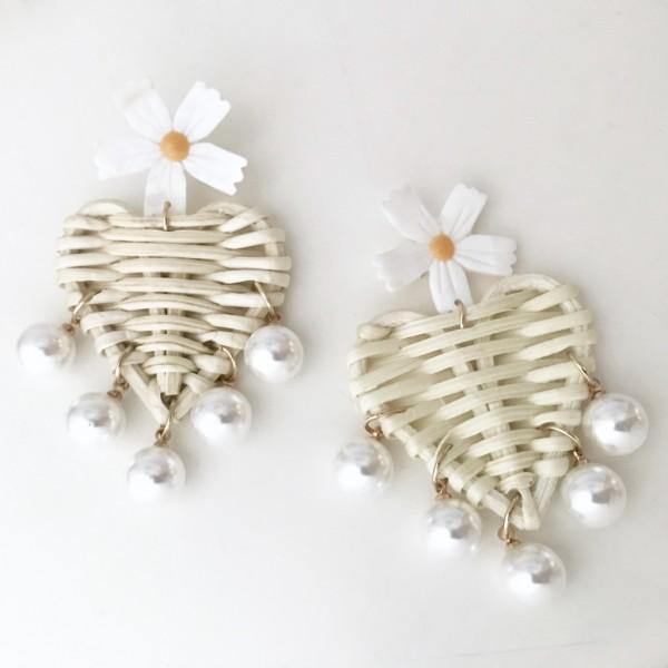 Ohrring Pearl Heart flower