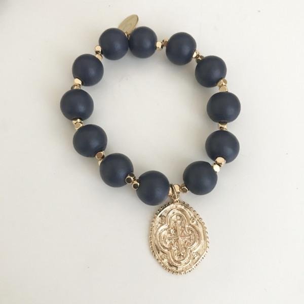 Armband dark blue wood