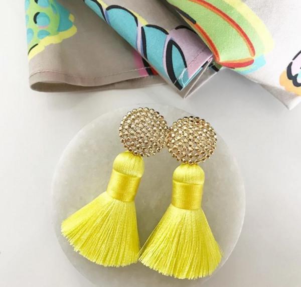 Tassel-Ohrringe silk gelb