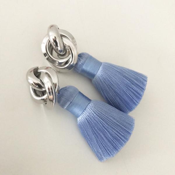 Tassel-Ohrringe silk hellblau knot