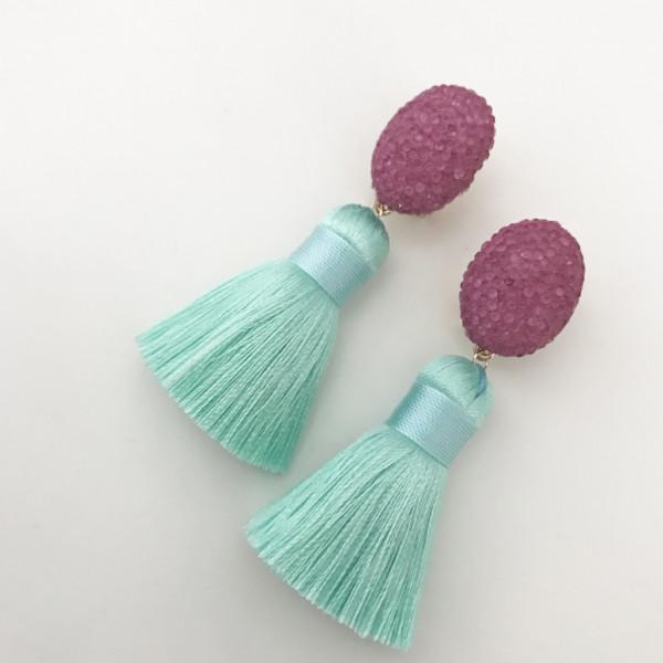 Tassel-Ohrringe mint pink
