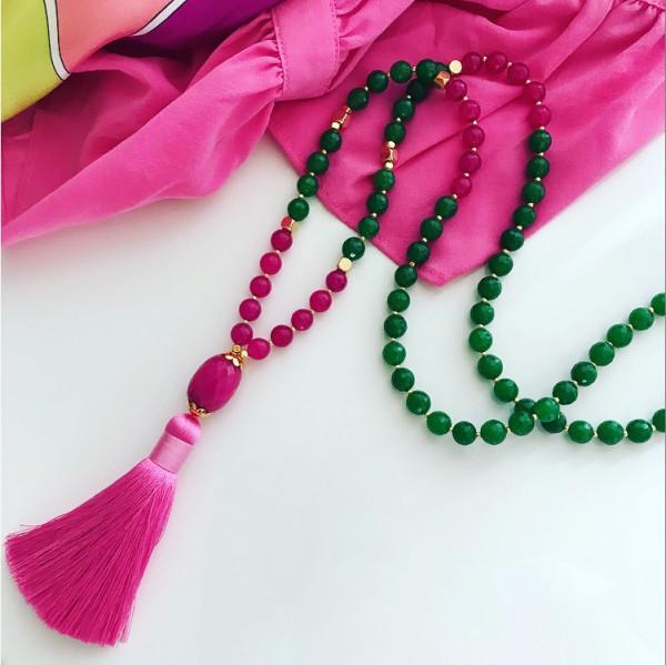 Tassel jungle green pink