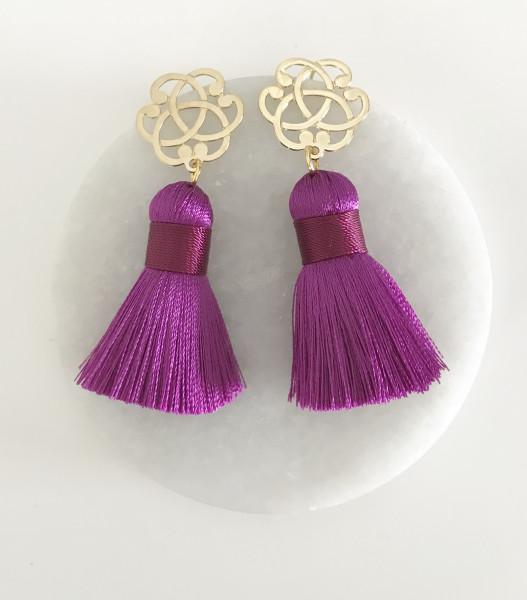 Tassel-Ohrringe Ornament cyclam