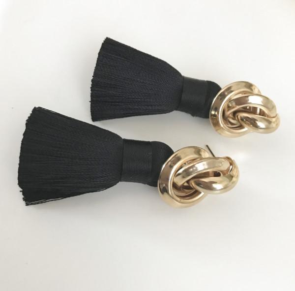 Tassel-Ohrringe silk black
