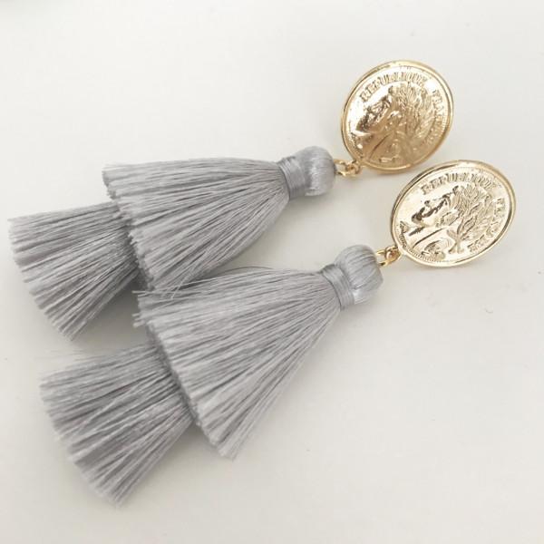 Tassel-Ohrringe silk grau