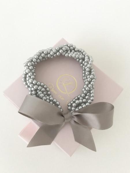 Haarschleife pearl grey