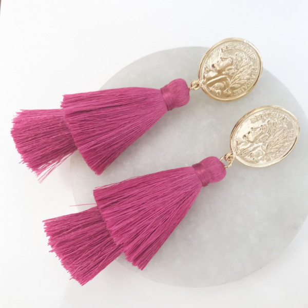 Tassel-Ohrringe silk pink double kurz