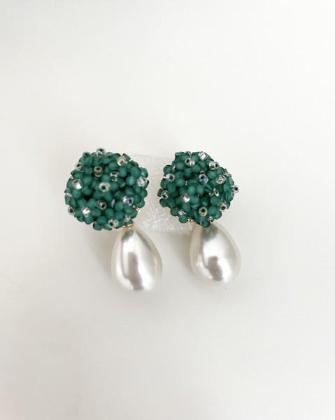 Ohrring Flower pearl green