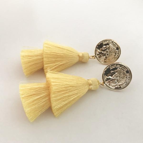 Tassel-Ohrringe silk gelb double