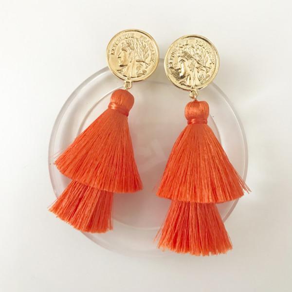 Tassel-Ohrringe silk orange double kurz