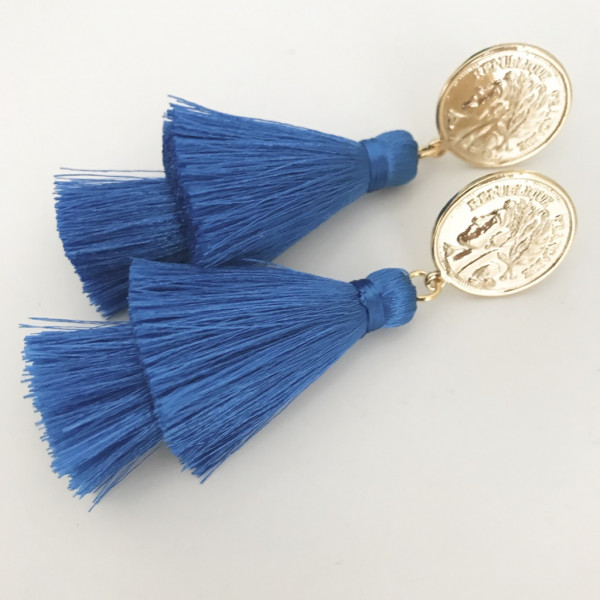 Tassel-Ohrringe silk royalblau