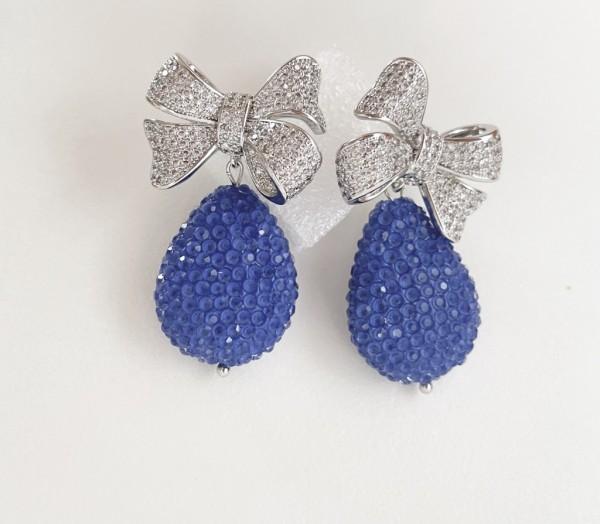 Ohrring bow pearl blau