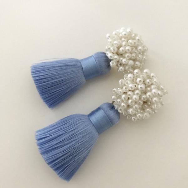 Tassel-Ohrringe silk hellblau pearl