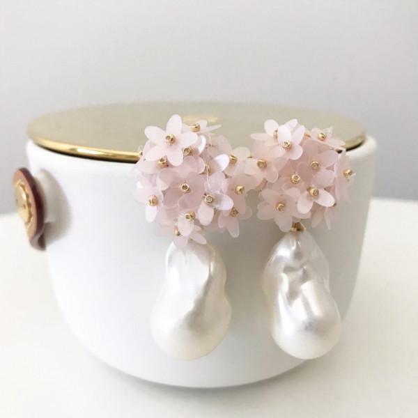 Ohrring Flower pearl rose