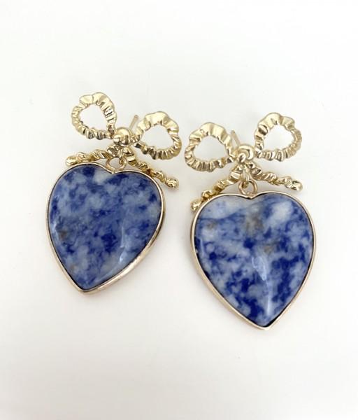 Ohrring heart blue