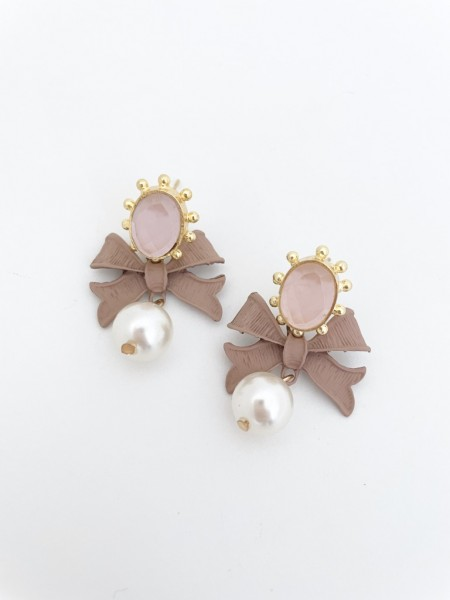 Ohrring bow pearl nude