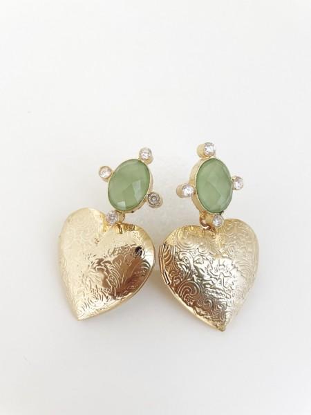Ohrring Heart grün