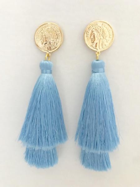 Tassel-Ohrringe silk hellblau double