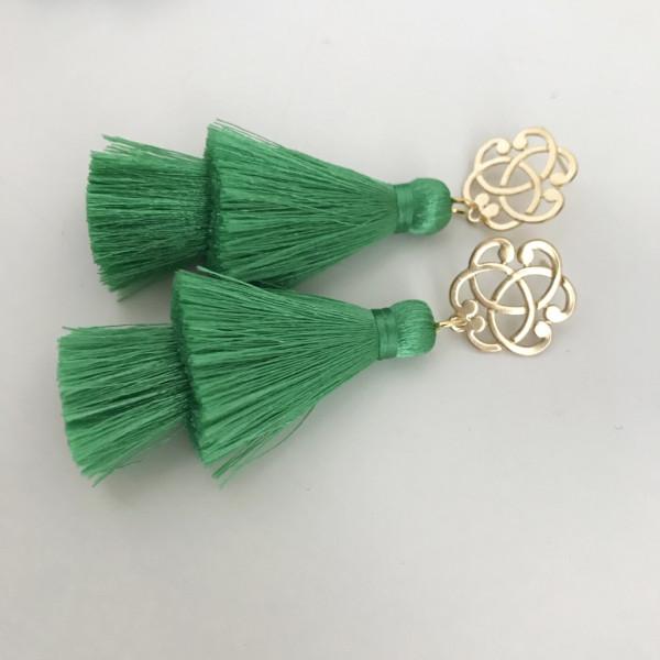 Tassel-Ohrringe silk grün